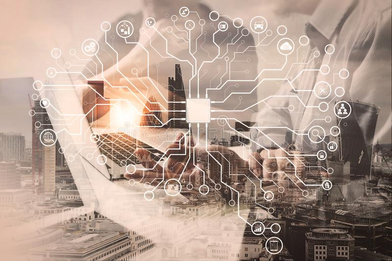 Double exposure of success businessman working in office with di. Artificial Intelligence (AI),machine learning with data mining technology on virtual dachboard royalty free stock image