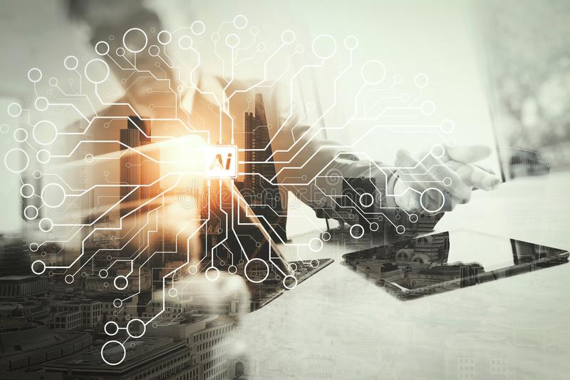 Double exposure of success businessman working in office with di. Artificial Intelligence (AI),machine learning with data mining technology on virtual dachboard stock photography