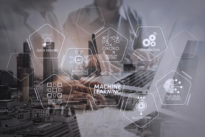 Double exposure of success businessman working in office with di. Machine learning technology diagram with artificial intelligence (AI),neural network,automation stock photo