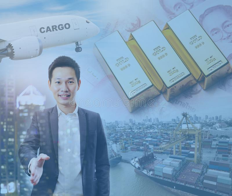 Double exposure of Thai businessman handshake with global investment market.  stock photography