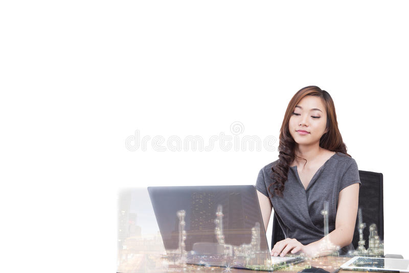 Double exposure two businesswomen. royalty free stock photo