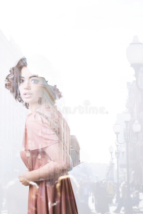Double exposure woman and city royalty free stock images