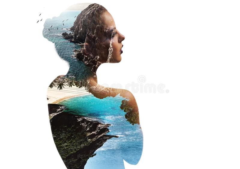 Double exposure. Woman and nature stock illustration