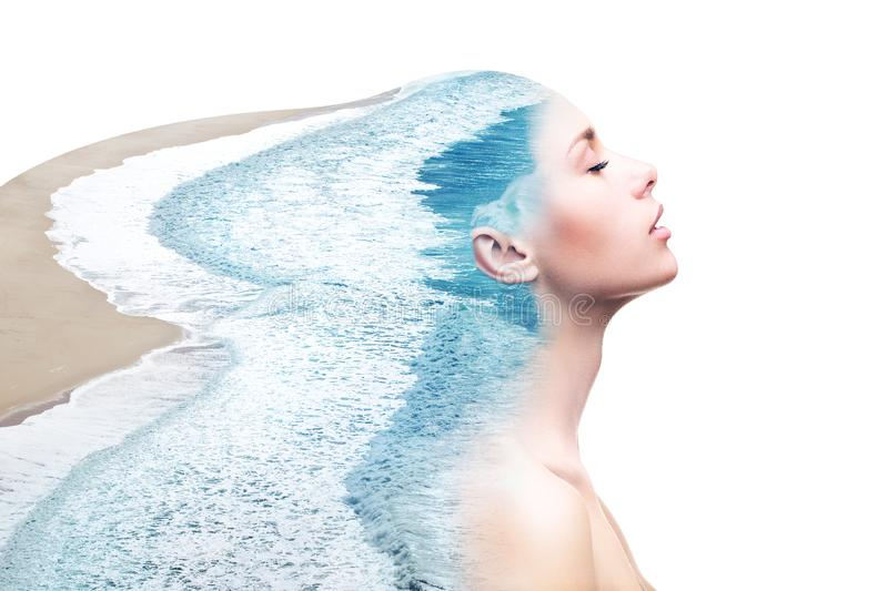 Double exposure woman and ocean royalty free stock image