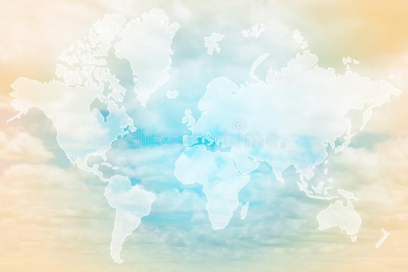 Double exposure of world map above sweet pastel colored cloud and sky, soft cloudy with gradient pastel color background, element stock photo