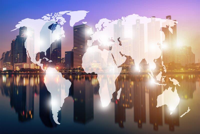 Double exposure world map and Bangkok city background. Elements royalty free stock photo