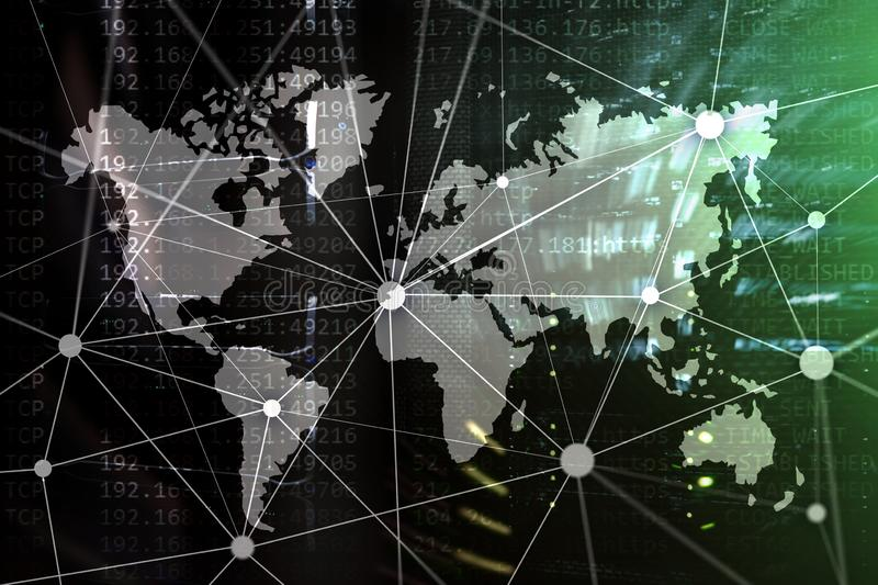 Double exposure world map. Global business and financial market concept royalty free stock images