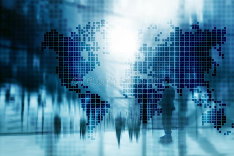 Double exposure world map. Global business and financial market concept stock photo