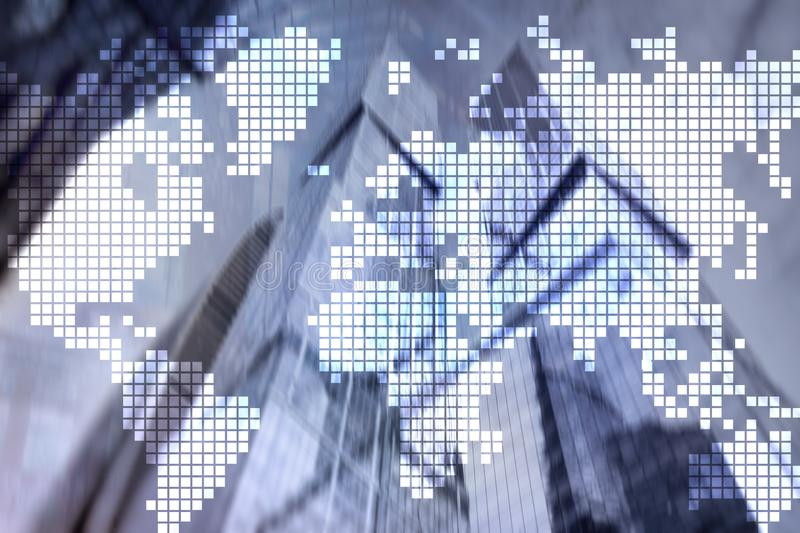 Double exposure world map on skyscraper background. Communication and global business concept. royalty free stock photos