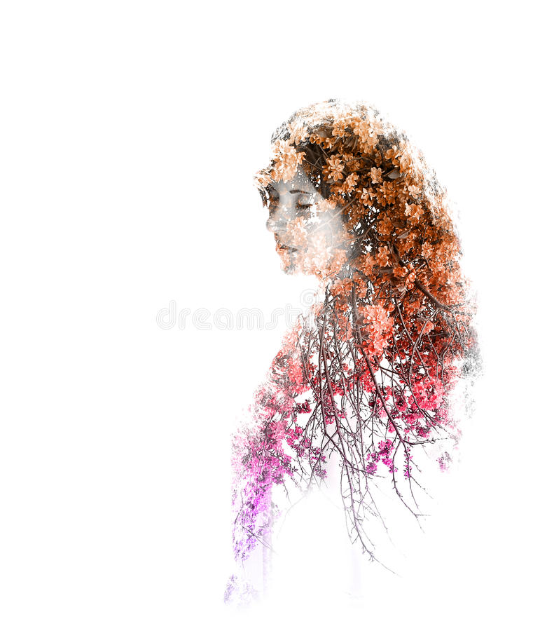 Double exposure of young beautiful girl isolated on white background. Portrait of a woman, mysterious look, sad eyes, creative royalty free stock photography
