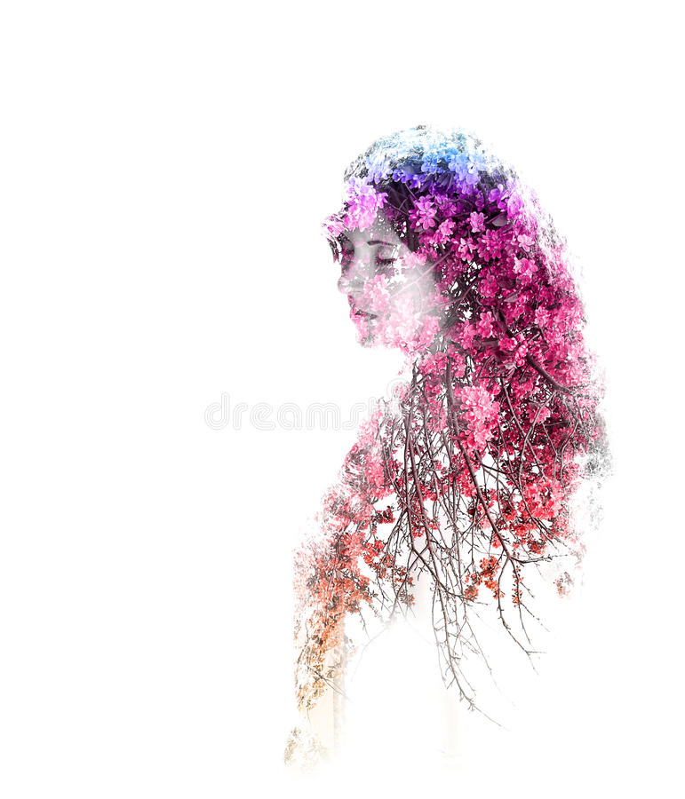 Double exposure of young beautiful girl isolated on white background. Portrait of a woman, mysterious look, sad eyes, creative. stock illustration