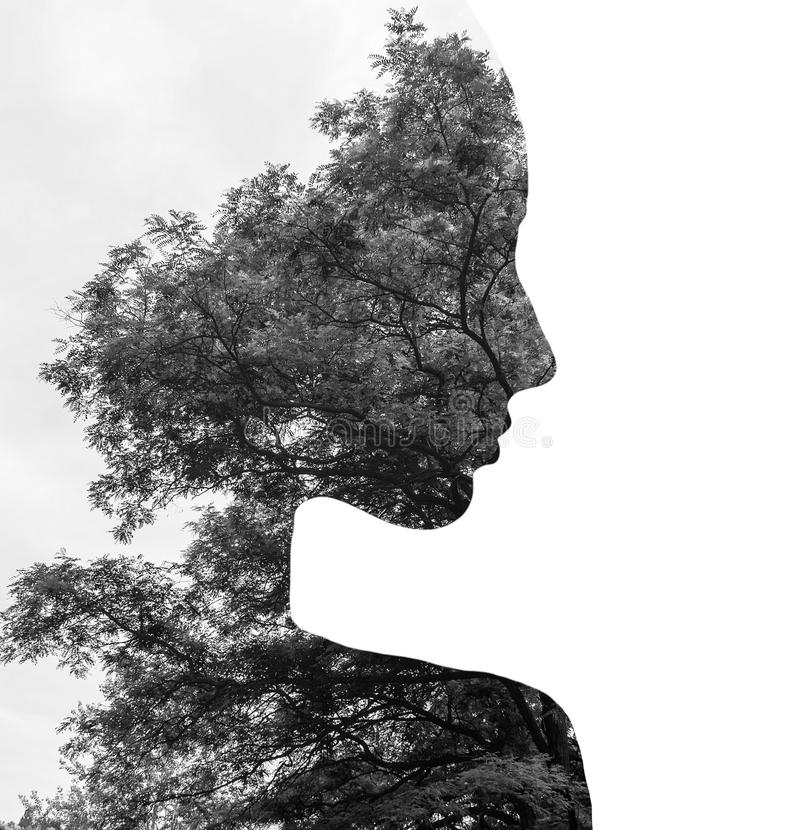 Double exposure of young beautiful girl among the leaves and trees. Black and white silhouette Isolated on white. royalty free illustration