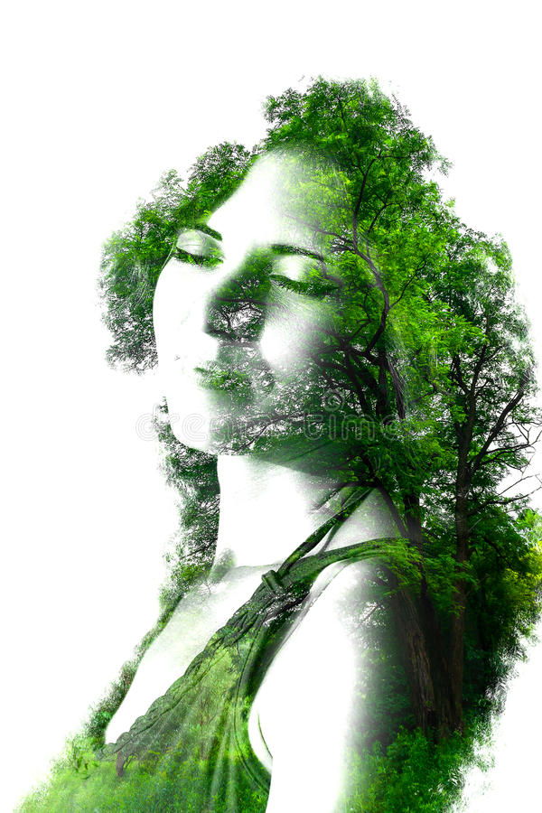 Double exposure of young beautiful girl among the leaves and trees. Portrait of attractive lady combined with photograph of tree. stock illustration