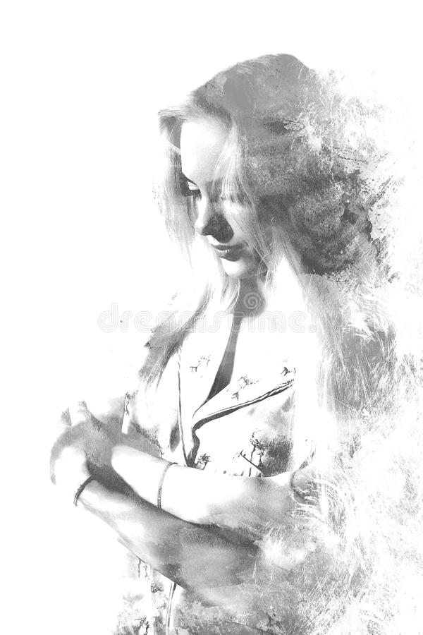 Double exposure of a young beautiful girl. Painted portrait of a female face.Black and white picture isolated on white background. Female sad look. Abstract stock image