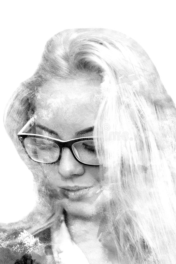 Double exposure of a young beautiful girl. Painted portrait of a female face. Black and white picture isolated on white background stock illustration
