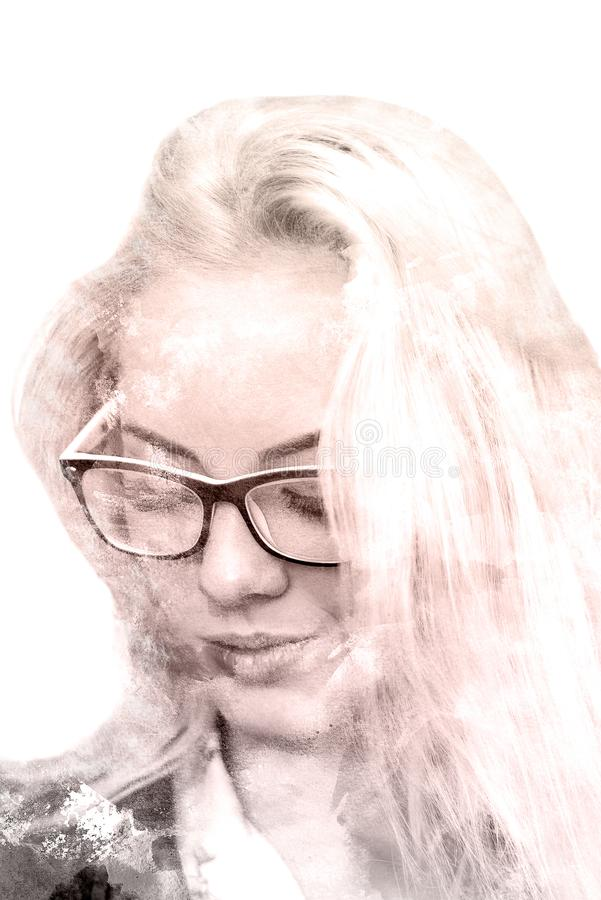 Double exposure of a young beautiful girl. Painted portrait of a female face. Multicolored picture isolated on white background. royalty free stock photography