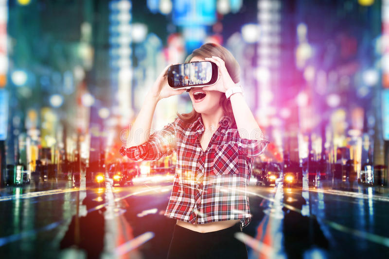 Double exposure, young girl getting experience VR headset, is using augmented reality glasses, being in a virtual. Double exposure, Young girl getting experience