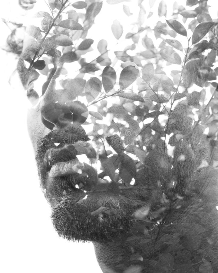 Double exposure of a young handsome man's portrait blended with tropical leaves, showing the perfect beauty of nature`s creatio royalty free stock photo