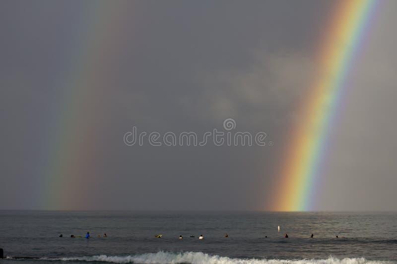 Double extrémité d'arc-en-ciel images libres de droits