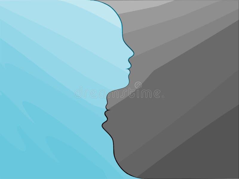 Double face. Metaphor bipolar disorder mind mental. Psychology and mental health. Split personality. Mood disorder. Dual personali. Bipolar disorder, mood change vector illustration
