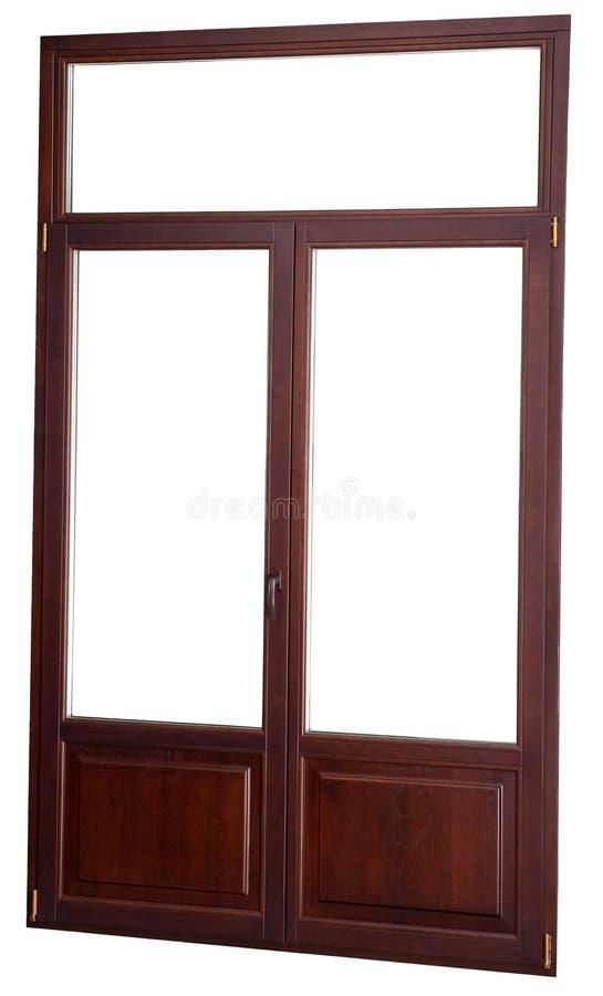 Double fermé de fenêtre vitré, couleur d'acajou foncée, d'isolement sur le wh photos stock