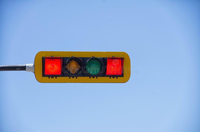 Double feu de signalisation rouge horizontal image libre de droits