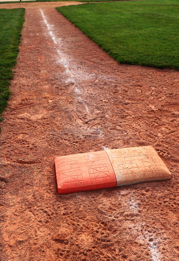 Free Double First Base Chalk Foul Line Royalty Free Stock Images - 54120999