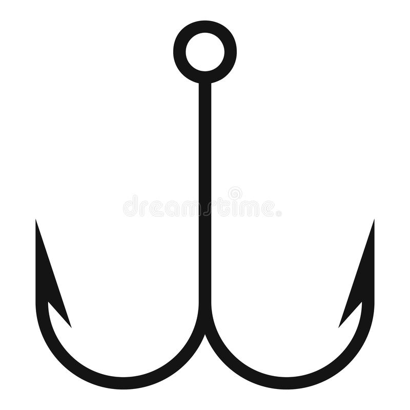 Double fish hook icon, simple style vector illustration