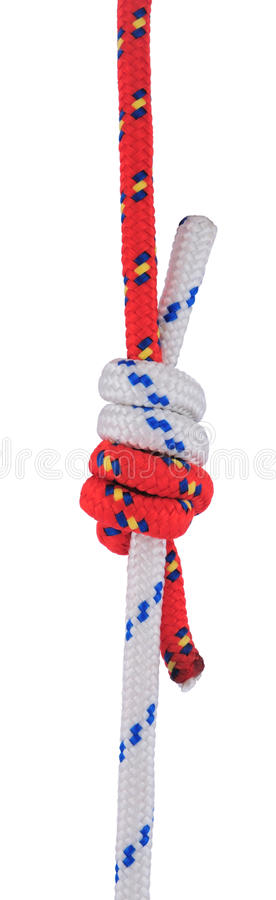 Double fisherman's knot. Double fisherman's (also known as Grapevine or Double englishman's) knot isolated on white. This is one of the strongest knots for royalty free stock photography