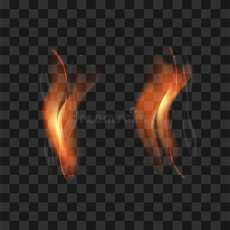 Double flamme transparente de torche avec des étincelles et fumée sur transpar illustration libre de droits