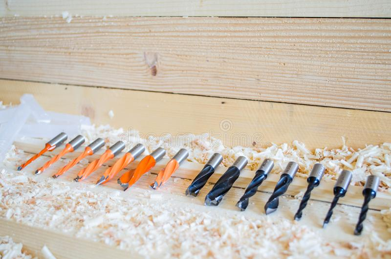 Double flute dowel drill. Precision tools for woodworking industry. royalty free stock photo