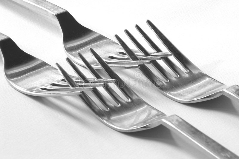 Download Double forks embrace stock image. Image of forks, cuisine - 47409