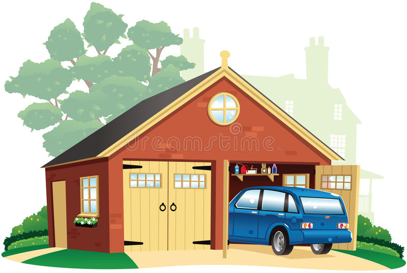 Double garage and automobile royalty free stock images