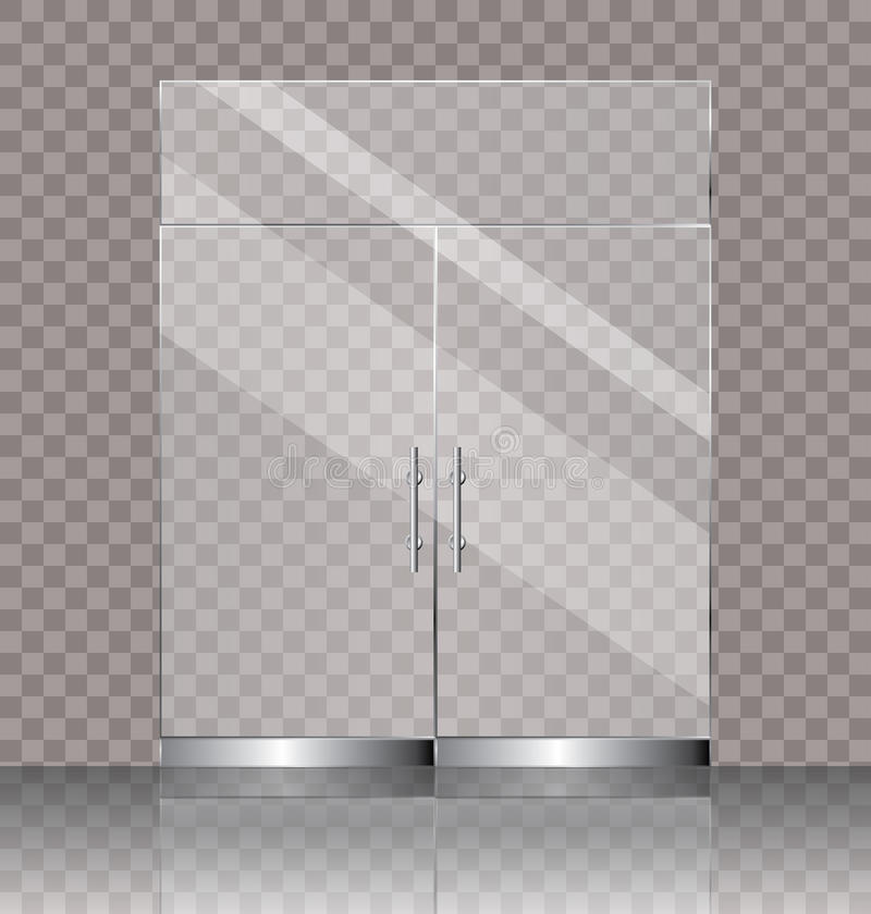Double glass door. Vector illustration of transparent double glass door for shop or commercial building entrance stock illustration