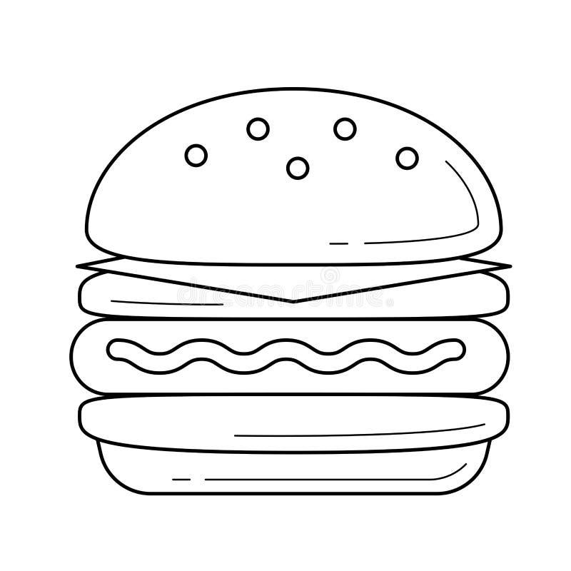 Double Cheeseburger Drawing Stock Vector