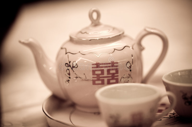 Double happiness teapot royalty free stock image