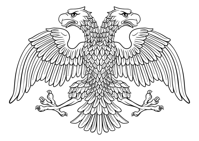 Double headed Imperial Eagle with Two Heads. Double headed eagle with two heads possibly a Roman Russian Byzantine or imperial heraldic symbolr royalty free illustration