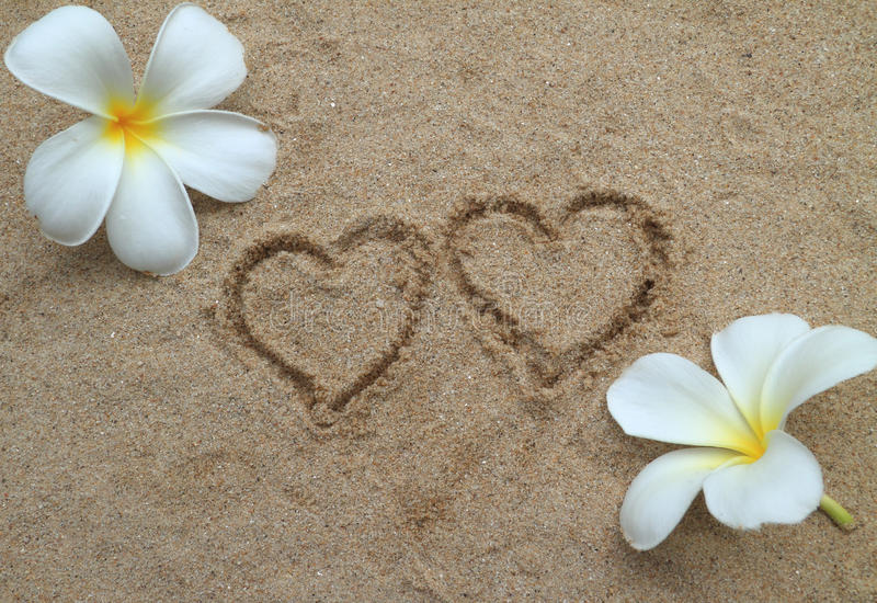 Download Double heart drawn on sand stock image. Image of flower - 22131721