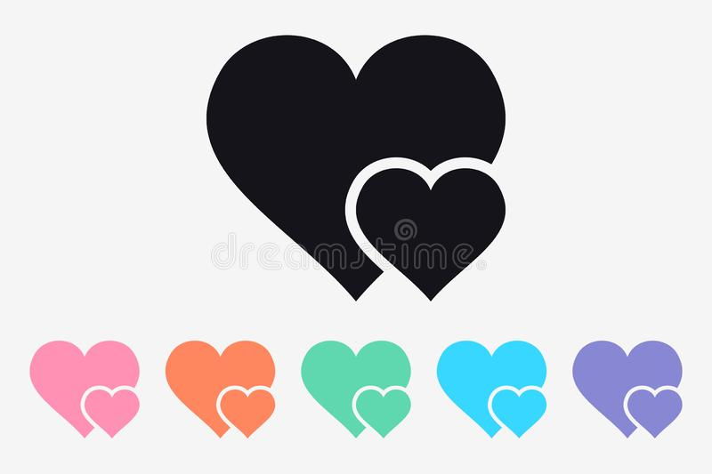 Double Heart Simple Icon. Symbol of Love. Happy Valentine`s Day. Isolated stock illustration