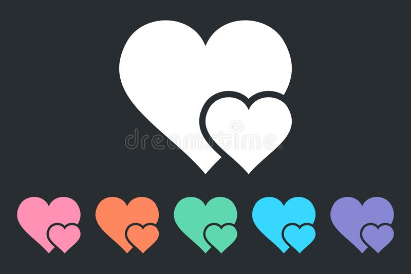 Double Heart Simple Icon. Symbol of Love. Happy Valentine`s Day. Isolated vector illustration