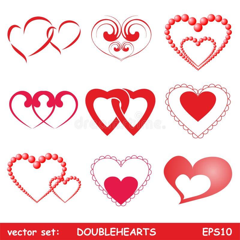 Double hearts set. For valentine or wedding design stock illustration