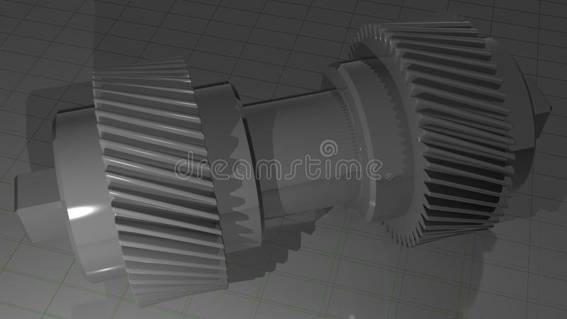Double helical gear - Pinion. A metallic double helical gear vector illustration