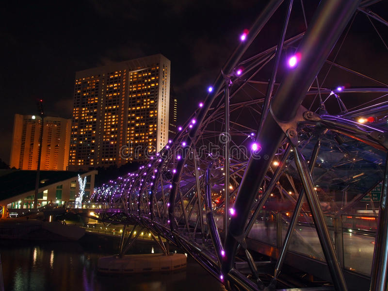 Double Helix Bridge over the marina bay waterfront. Singapore stock photos