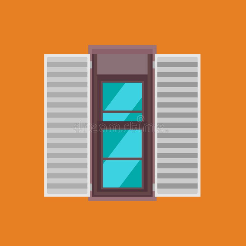 Double hung window vector icon glass front view. House interior frame building isolated. Open wooden exterior arch stock illustration