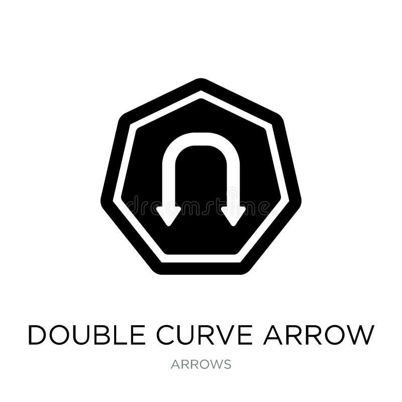 double icône de flèche de courbe dans le style à la mode de conception double icône de flèche de courbe d'isolement sur le fond b illustration libre de droits
