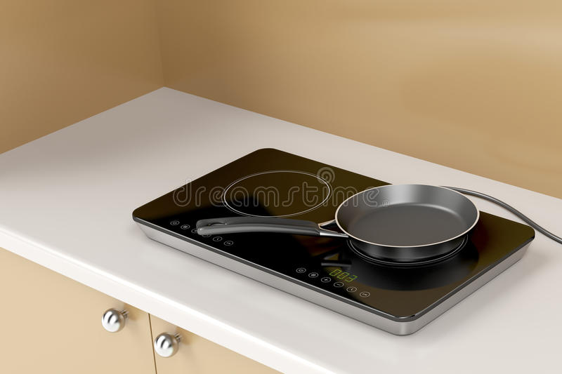 Double induction cooktop and frying pan vector illustration