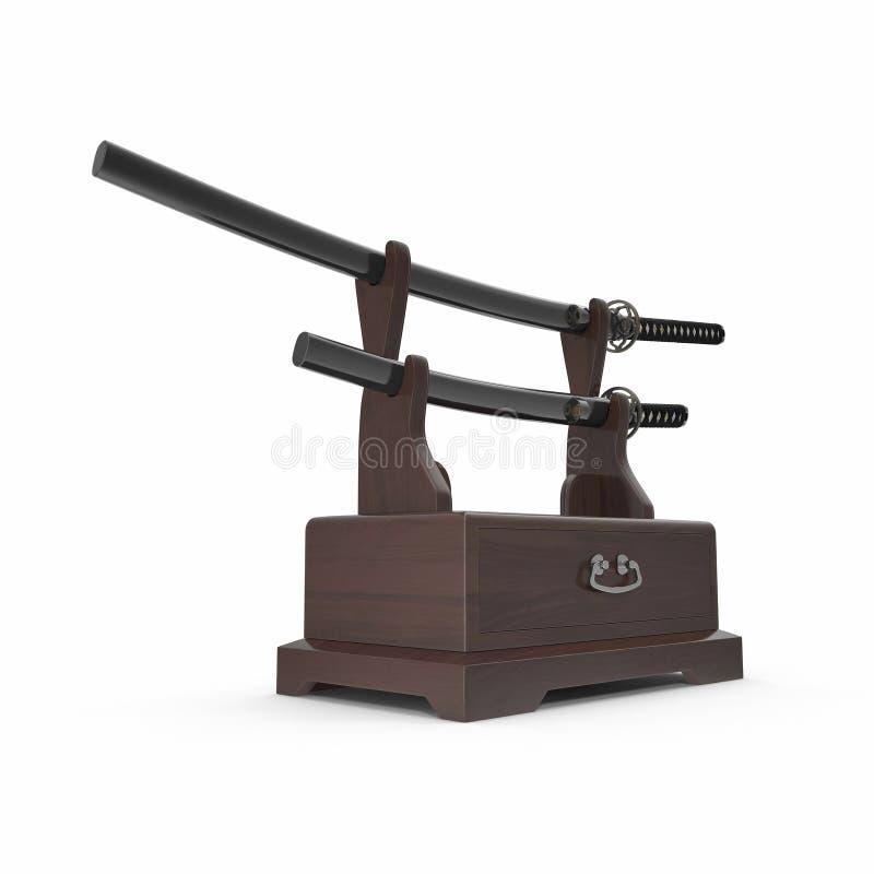 Double Katana Sword Stand With Drawer 3D Illusration, rendent, fond d'isolement et blanc illustration libre de droits