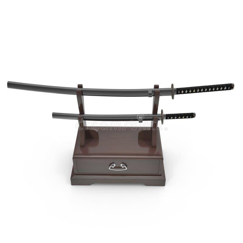 Double Katana Sword Stand With Drawer 3D Illusration, rendent, fond d'isolement et blanc illustration de vecteur