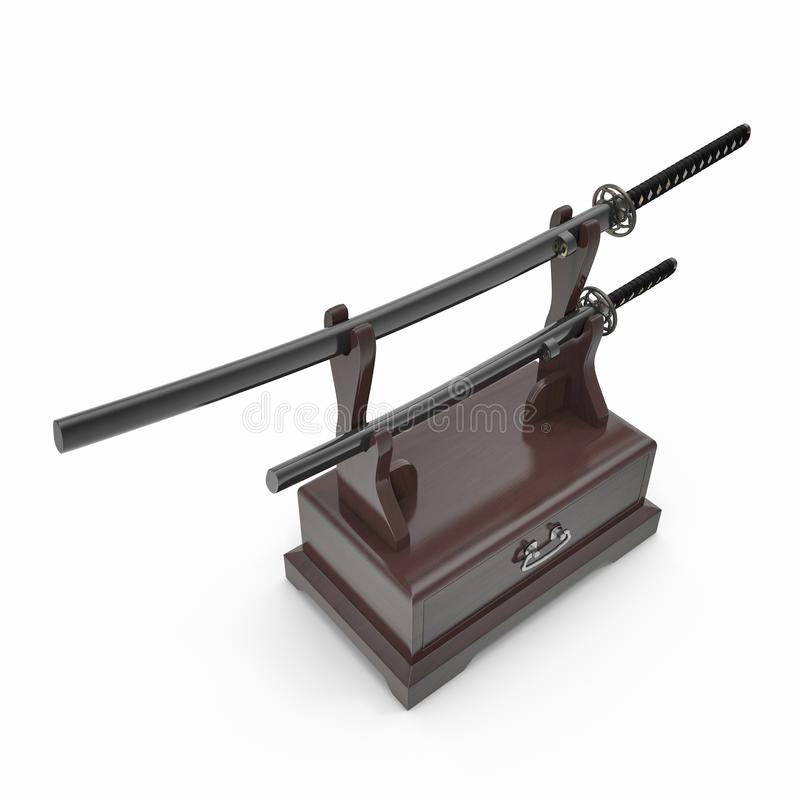 Double Katana Sword Stand With Drawer 3D Illusration, rendent, fond d'isolement et blanc illustration stock