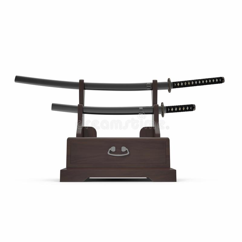 Double Katana Sword Stand With Drawer. 3D Illusration, render, isolated, front view on white background. Double Katana Sword Stand With Drawer. 3D Illusration royalty free illustration